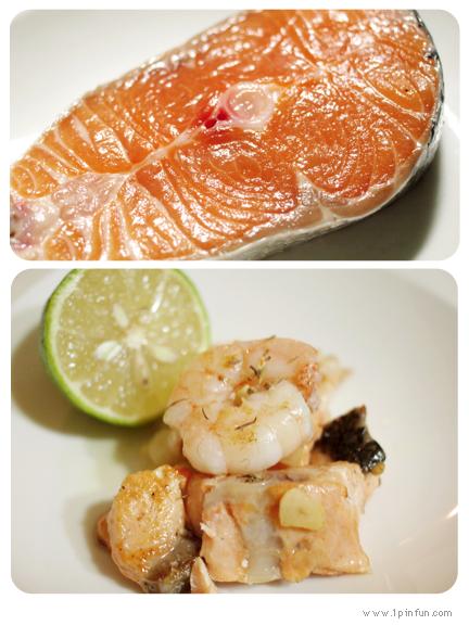 蒜片檸檬香煎鮭魚